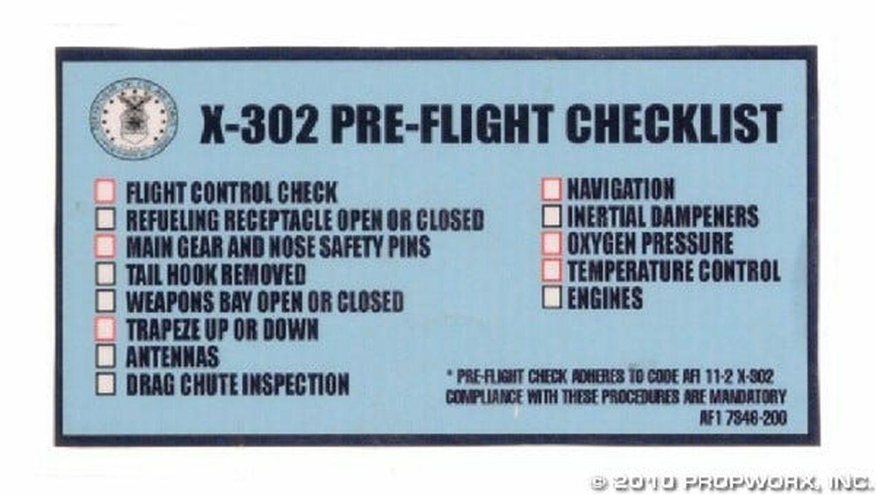 Liste de vérification du X-302 d'O'Neill