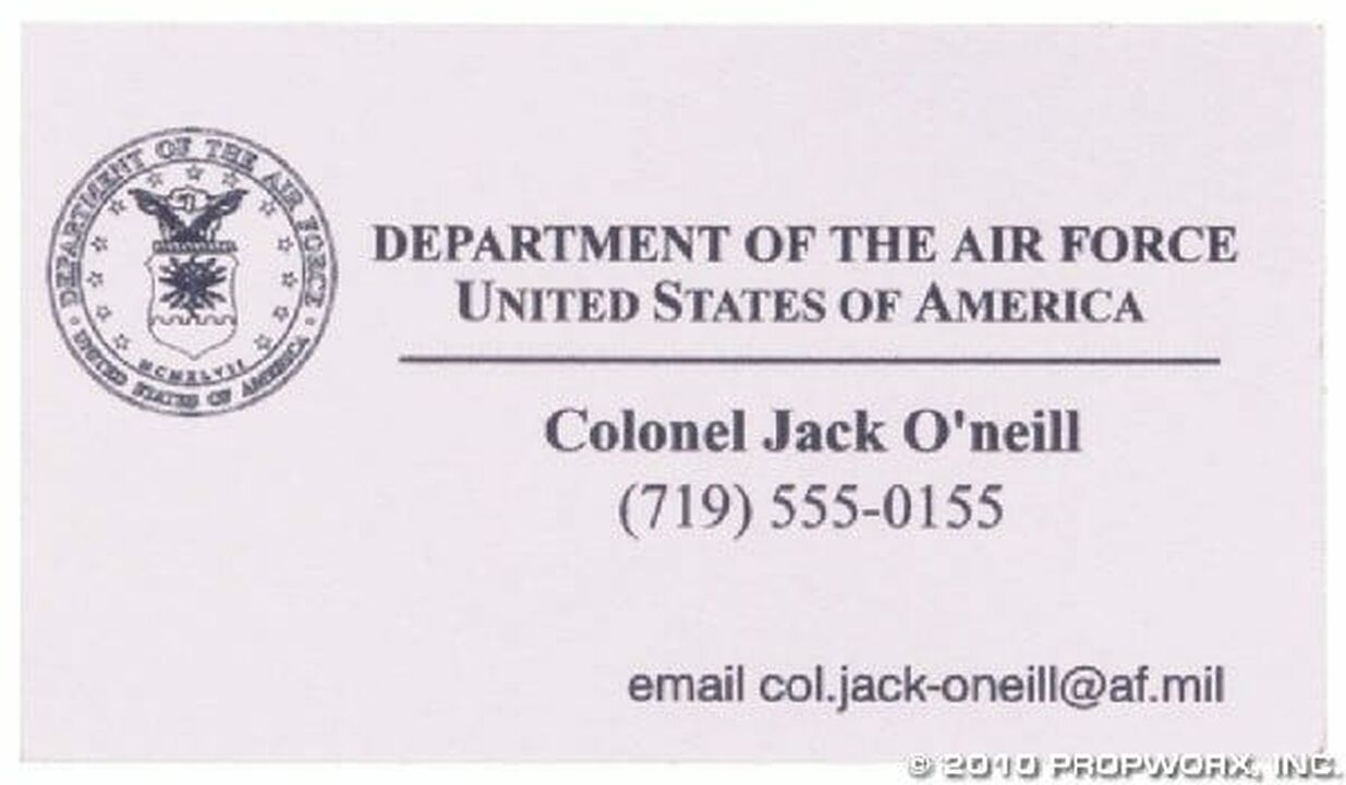 Carte de visite du colonel O'Neill