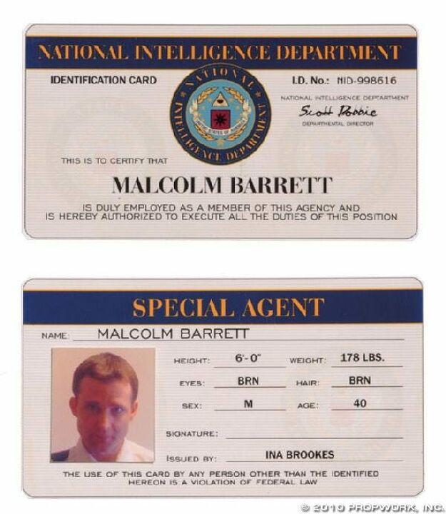 Badget d'identification de l'agent Barrett
